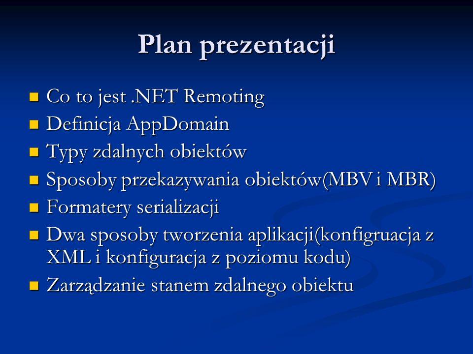 Plan prezentacji Co to jest .NET Remoting Definicja AppDomain
