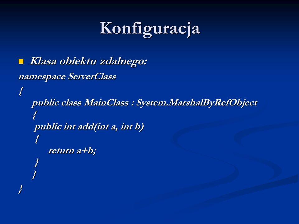 Konfiguracja Klasa obiektu zdalnego: namespace ServerClass
