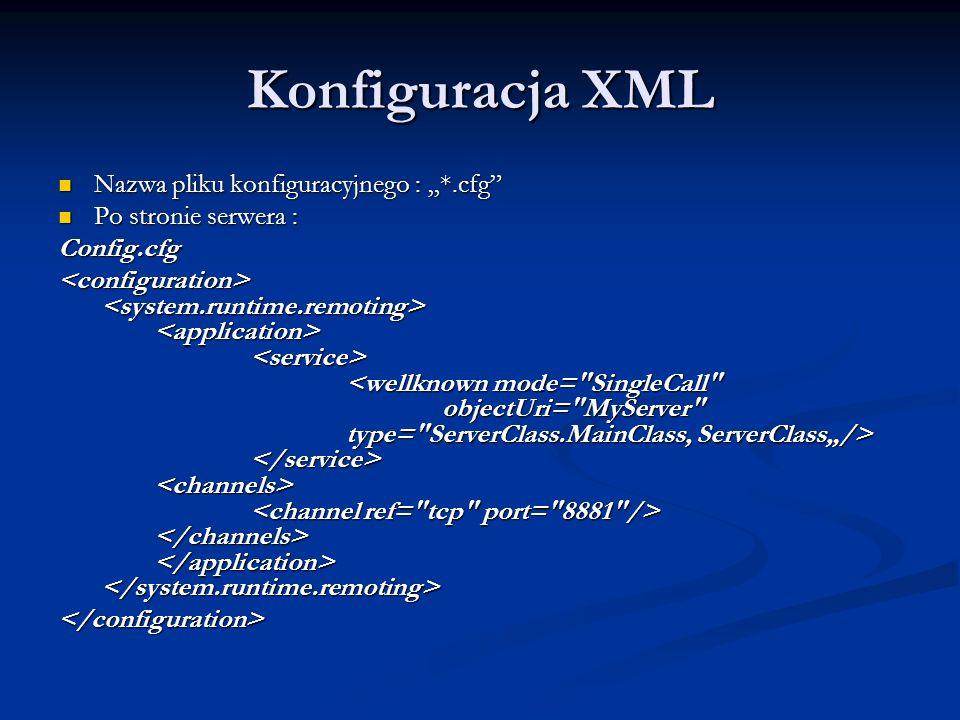 """Konfiguracja XML Nazwa pliku konfiguracyjnego : """"*.cfg"""