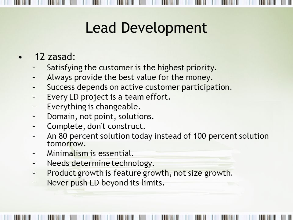 Lead Development 12 zasad:
