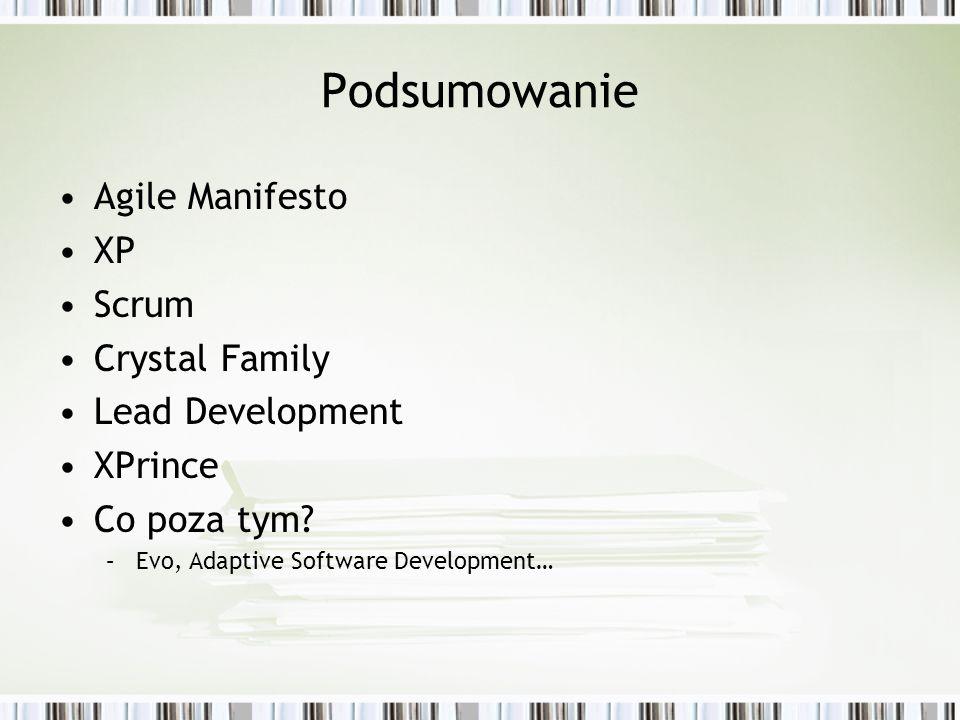 Podsumowanie Agile Manifesto XP Scrum Crystal Family Lead Development