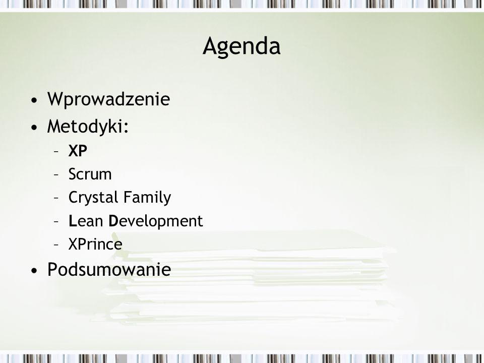 Agenda Wprowadzenie Metodyki: Podsumowanie XP Scrum Crystal Family
