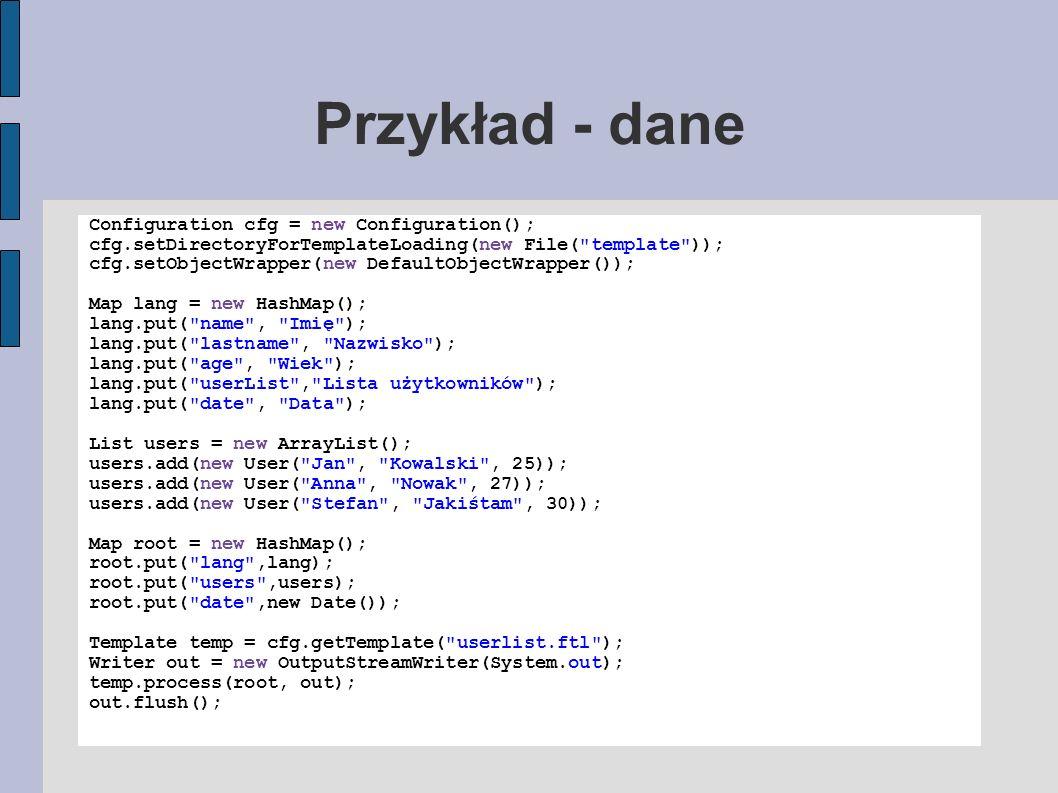 Przykład - dane Configuration cfg = new Configuration();