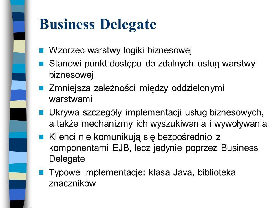 Business Delegate Wzorzec warstwy logiki biznesowej