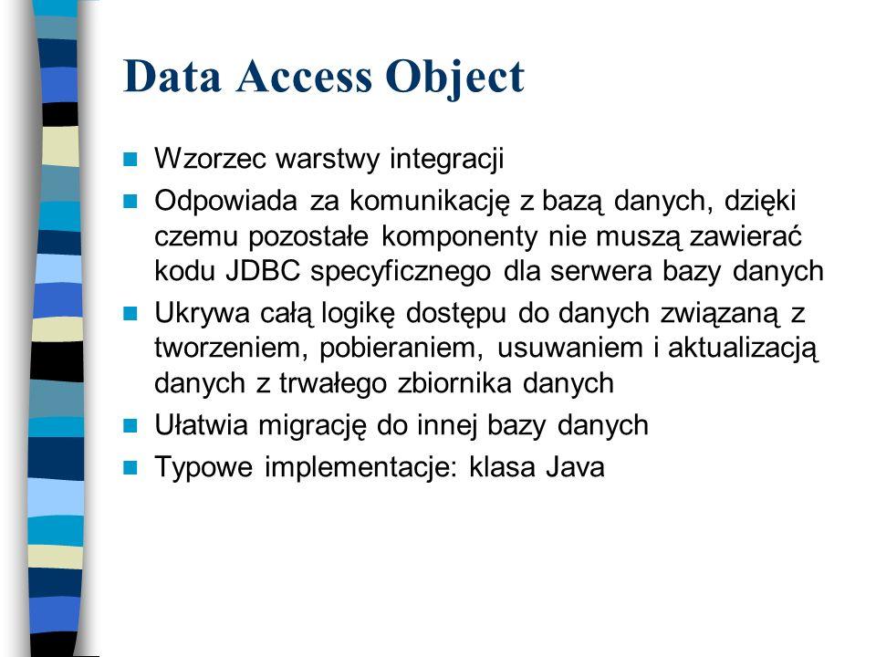 Data Access Object Wzorzec warstwy integracji