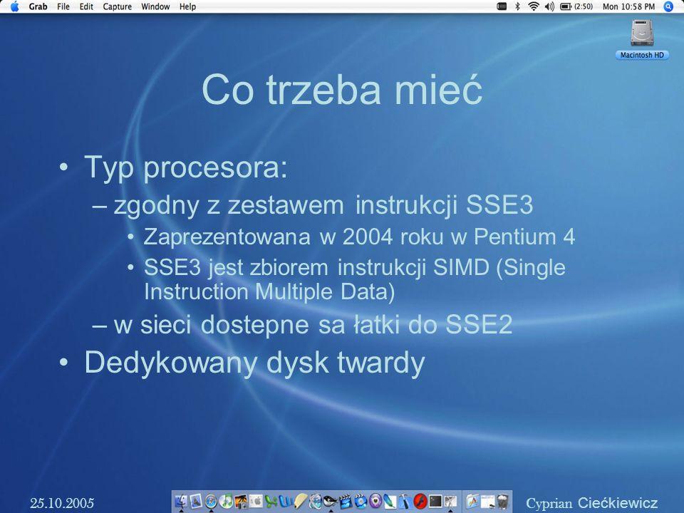 Co trzeba mieć Typ procesora: Dedykowany dysk twardy