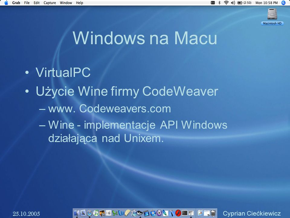 Windows na Macu VirtualPC Użycie Wine firmy CodeWeaver