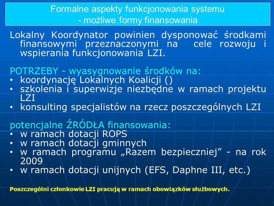 Formalne aspekty funkcjonowania systemu - możliwe formy finansowania