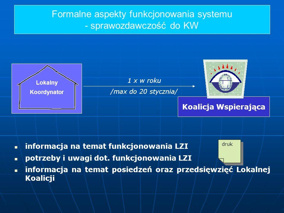 Formalne aspekty funkcjonowania systemu - sprawozdawczość do KW