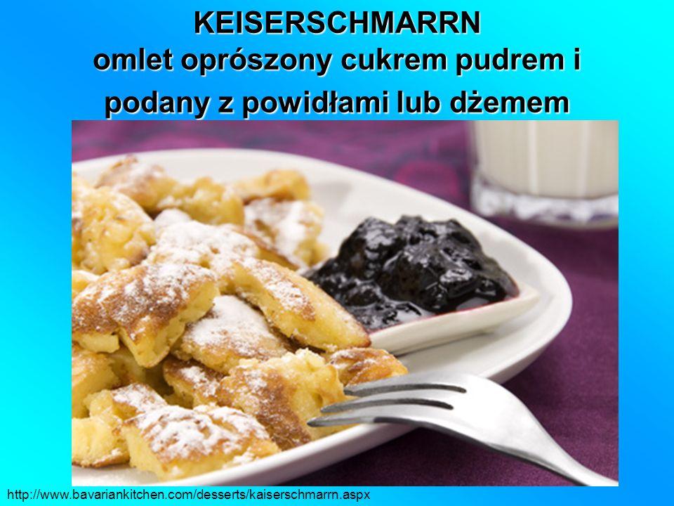 KEISERSCHMARRN omlet oprószony cukrem pudrem i podany z powidłami lub dżemem