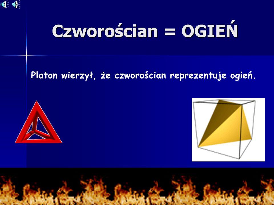 Platon wierzył, że czworościan reprezentuje ogień.