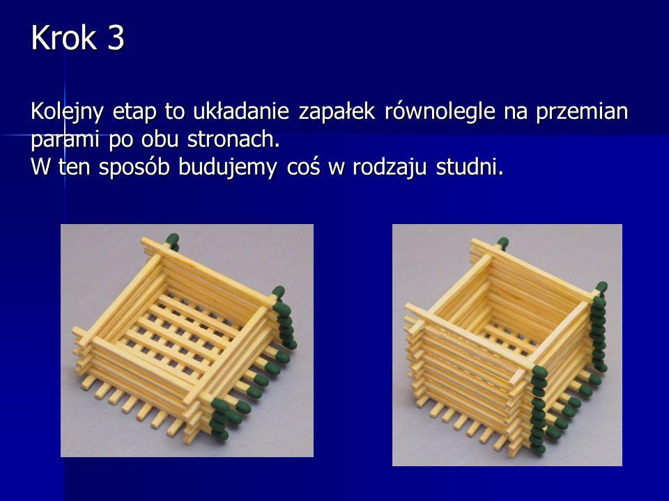 Krok 3 Kolejny etap to układanie zapałek równolegle na przemian parami po obu stronach.