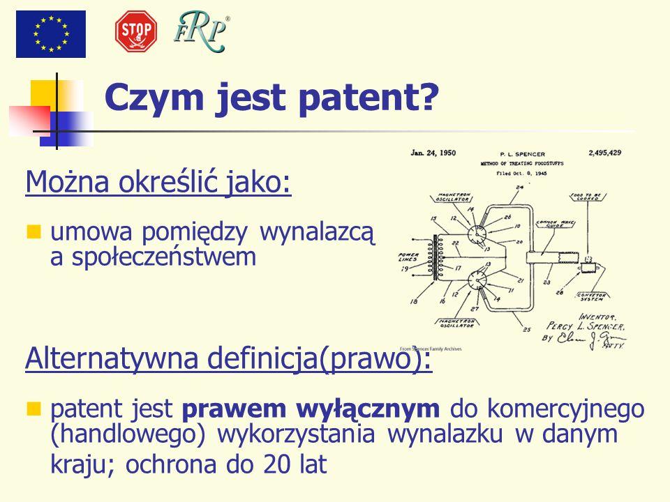 Czym jest patent Można określić jako: Alternatywna definicja(prawo):
