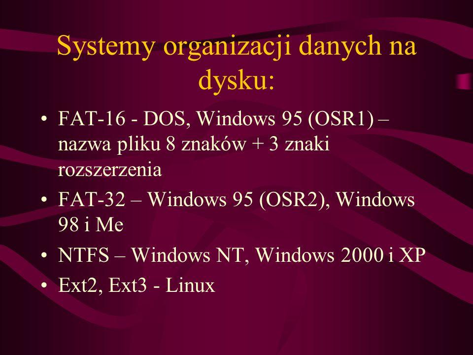 Systemy organizacji danych na dysku: