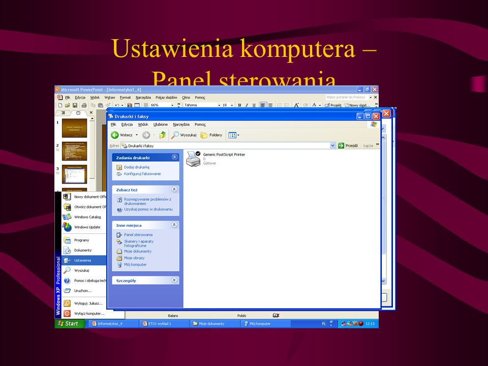 Ustawienia komputera – Panel sterowania