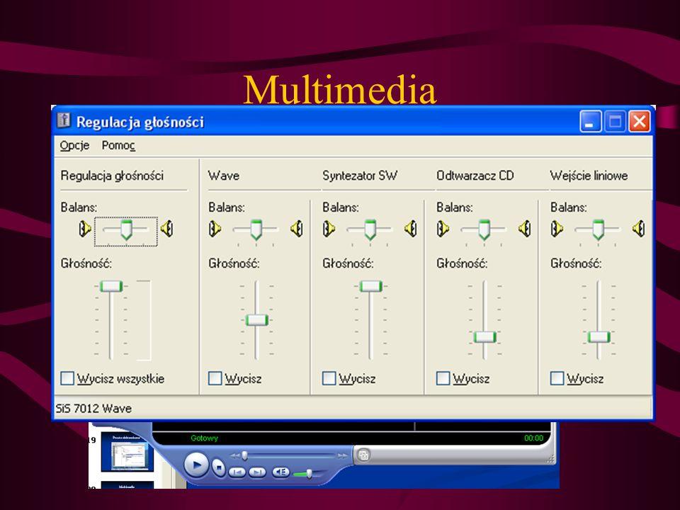 Multimedia Odtwarzanie filmów, muzyki także w formacie MP3 (od windows XP)– Windows Media Player (filmy bez napisów)