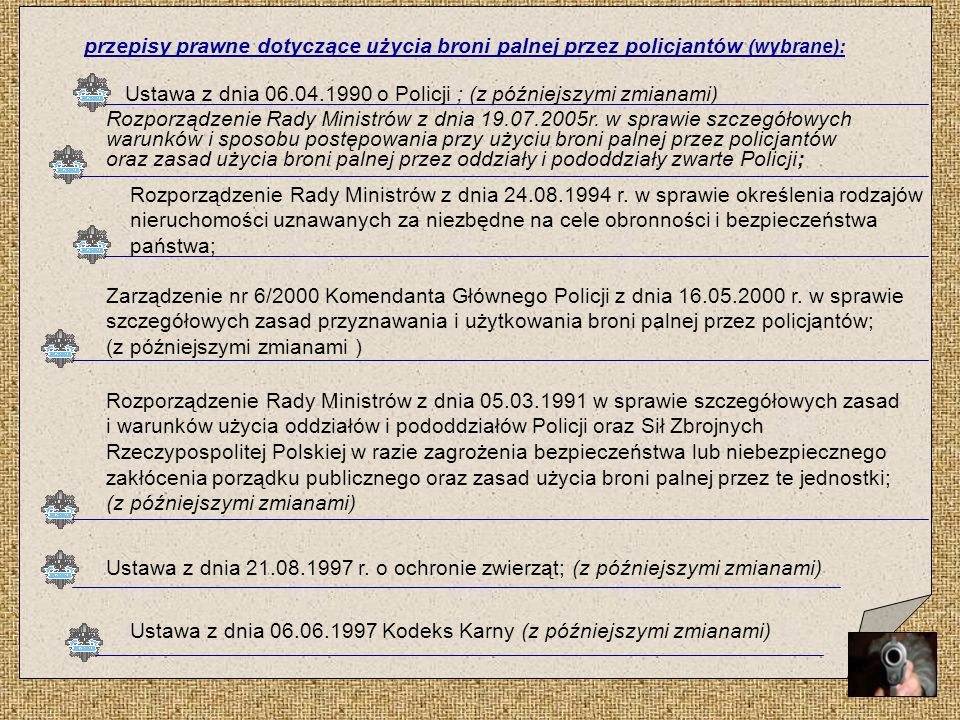 przepisy prawne dotyczące użycia broni palnej przez policjantów (wybrane):
