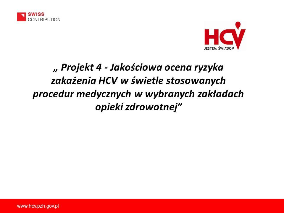 """"""" Projekt 4 - Jakościowa ocena ryzyka zakażenia HCV w świetle stosowanych procedur medycznych w wybranych zakładach opieki zdrowotnej"""