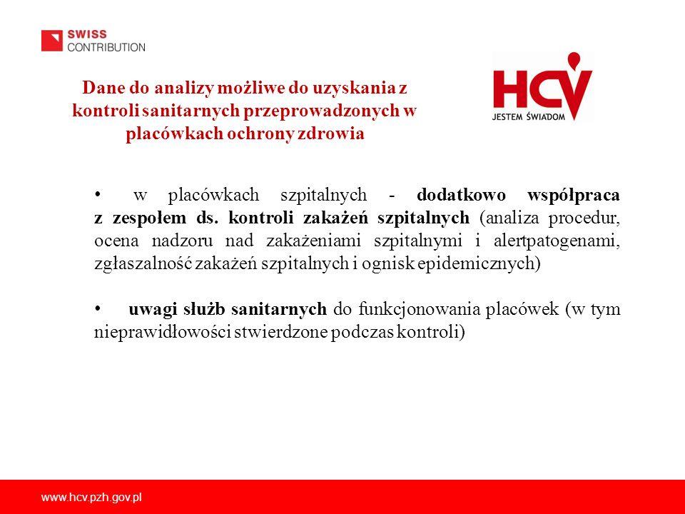 Dane do analizy możliwe do uzyskania z kontroli sanitarnych przeprowadzonych w placówkach ochrony zdrowia