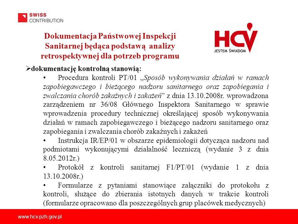 Dokumentacja Państwowej Inspekcji Sanitarnej będąca podstawą analizy retrospektywnej dla potrzeb programu