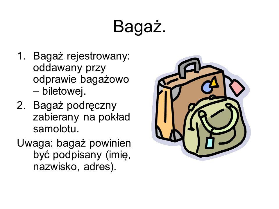 Bagaż. Bagaż rejestrowany: oddawany przy odprawie bagażowo – biletowej. Bagaż podręczny zabierany na pokład samolotu.