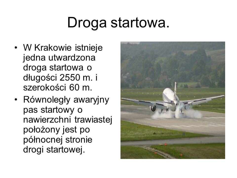 Droga startowa. W Krakowie istnieje jedna utwardzona droga startowa o długości 2550 m. i szerokości 60 m.