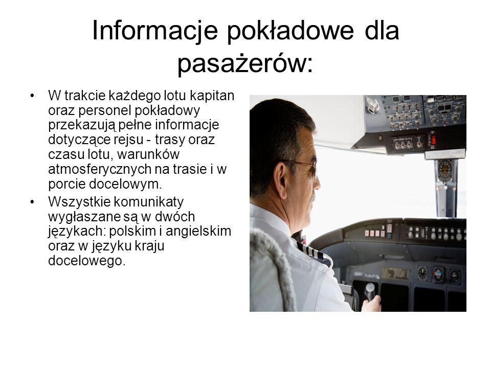 Informacje pokładowe dla pasażerów: