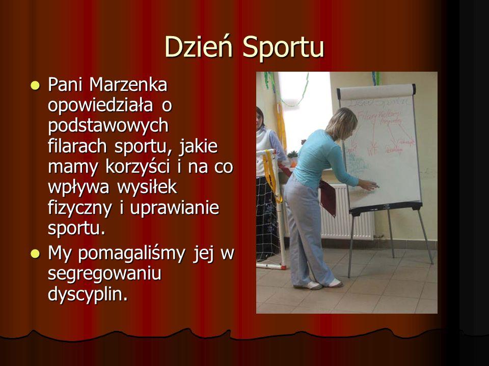 Dzień Sportu Pani Marzenka opowiedziała o podstawowych filarach sportu, jakie mamy korzyści i na co wpływa wysiłek fizyczny i uprawianie sportu.