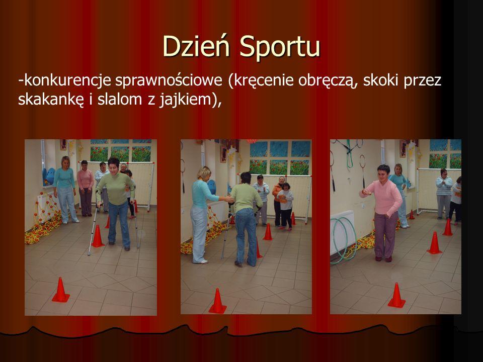 Dzień Sportu konkurencje sprawnościowe (kręcenie obręczą, skoki przez skakankę i slalom z jajkiem),