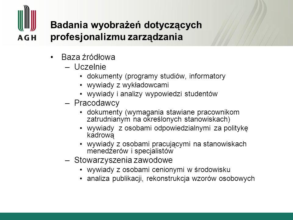 Badania wyobrażeń dotyczących profesjonalizmu zarządzania