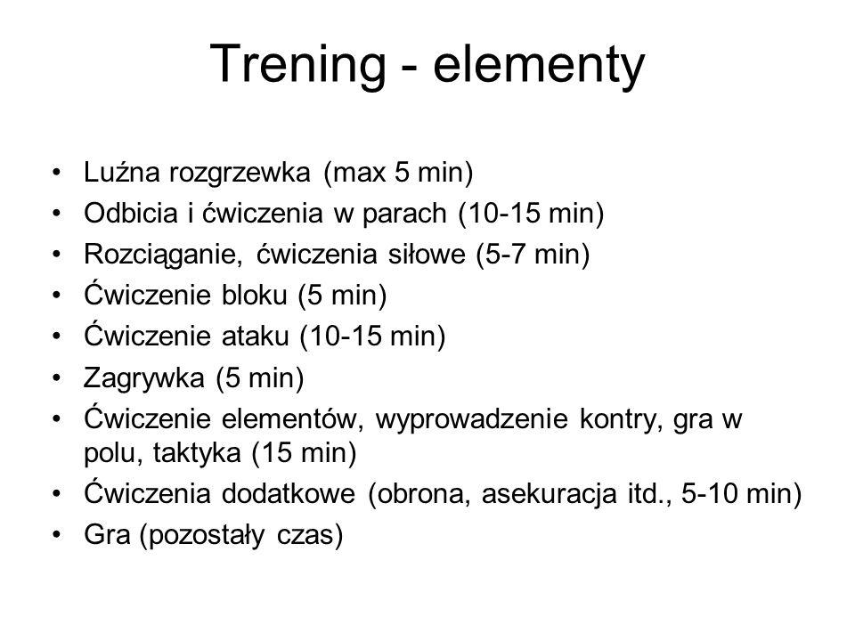Trening - elementy Luźna rozgrzewka (max 5 min)