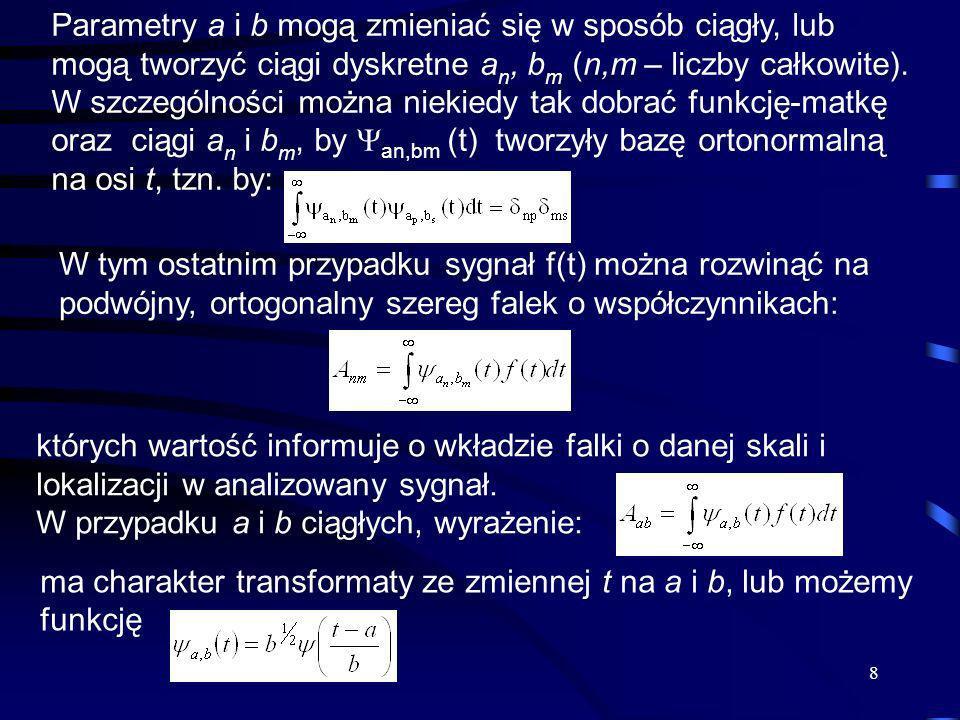 Parametry a i b mogą zmieniać się w sposób ciągły, lub mogą tworzyć ciągi dyskretne an, bm (n,m – liczby całkowite). W szczególności można niekiedy tak dobrać funkcję-matkę oraz ciągi an i bm, by an,bm (t) tworzyły bazę ortonormalną na osi t, tzn. by: