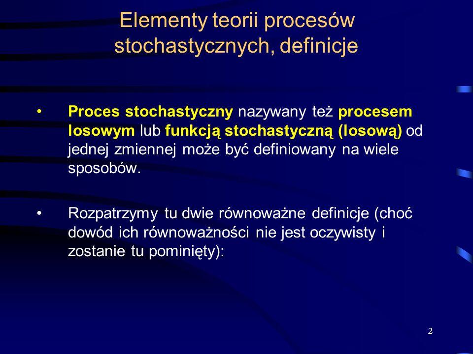 Elementy teorii procesów stochastycznych, definicje