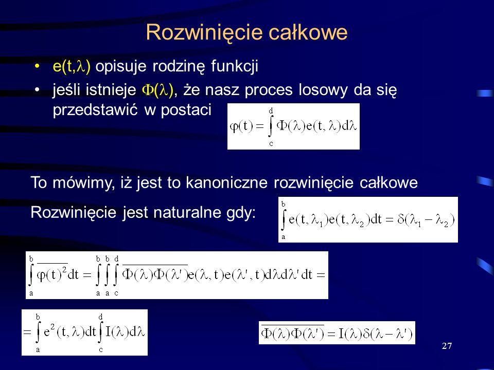 Rozwinięcie całkowe e(t,) opisuje rodzinę funkcji
