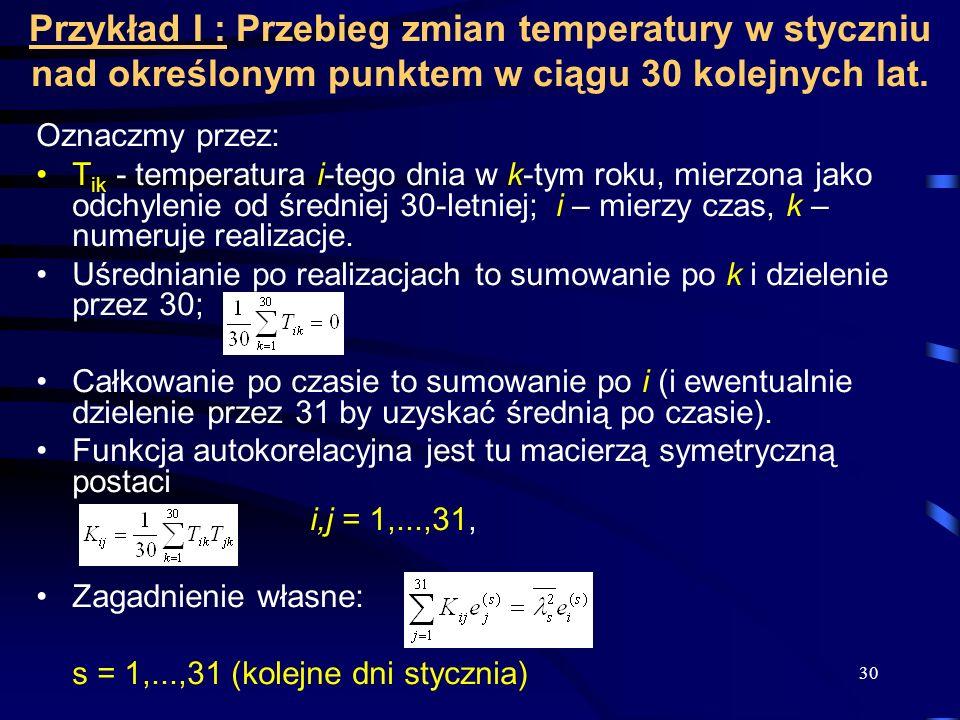 Przykład I : Przebieg zmian temperatury w styczniu nad określonym punktem w ciągu 30 kolejnych lat.