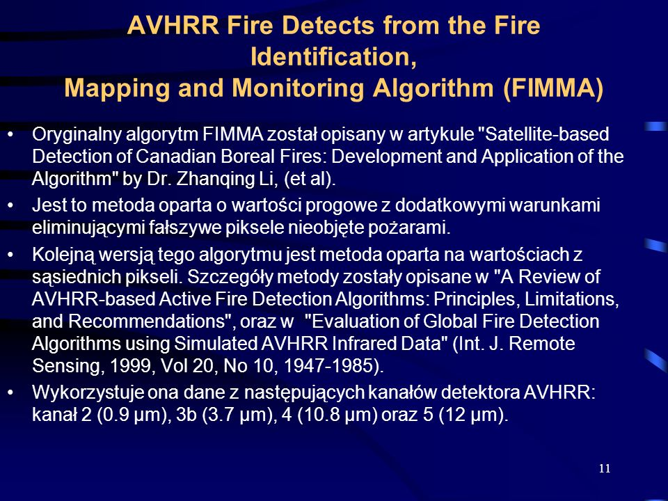 AVHRR Fire Detects from the Fire Identification, Mapping and Monitoring Algorithm (FIMMA)