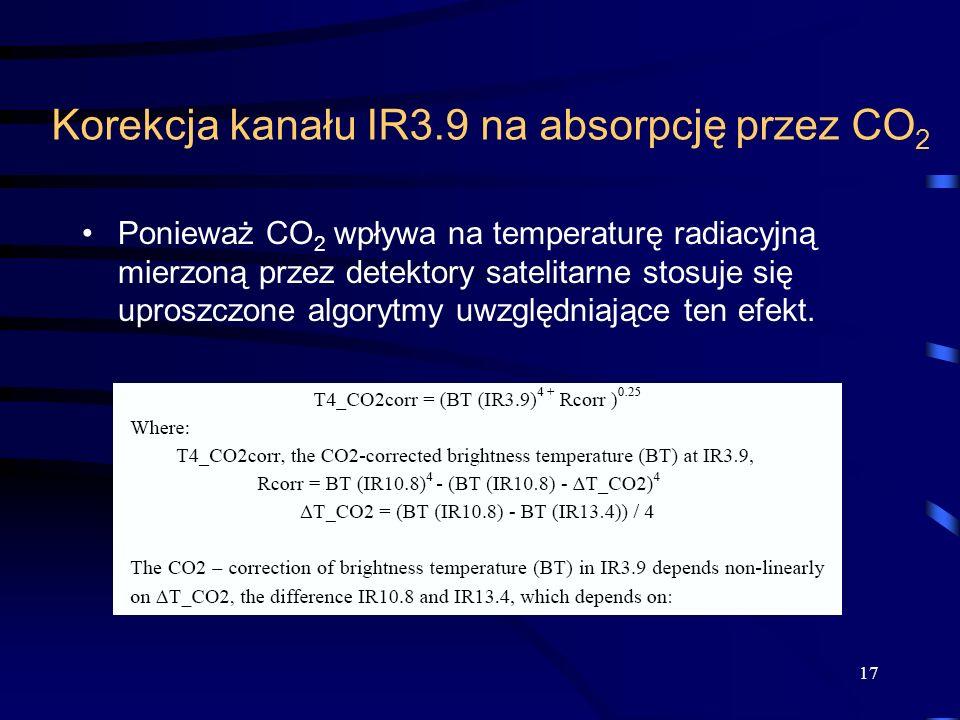 Korekcja kanału IR3.9 na absorpcję przez CO2