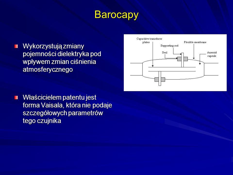 Barocapy Wykorzystują zmiany pojemności dielektryka pod wpływem zmian ciśnienia atmosferycznego.
