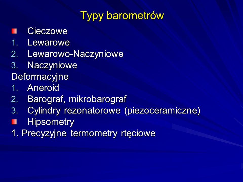 Typy barometrów Cieczowe Lewarowe Lewarowo-Naczyniowe Naczyniowe