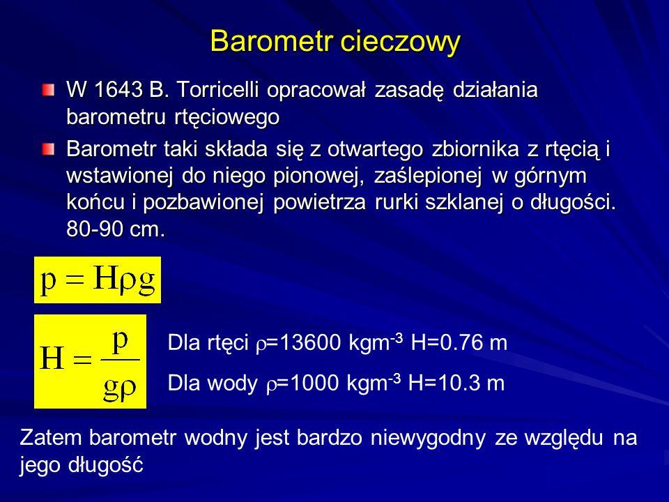 Barometr cieczowy W 1643 B. Torricelli opracował zasadę działania barometru rtęciowego.