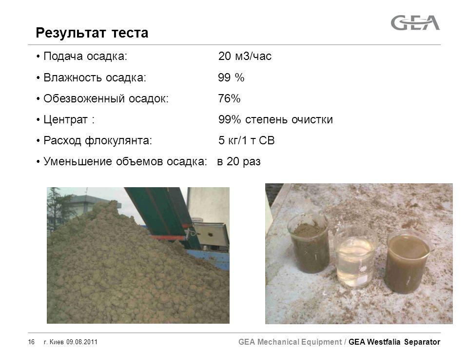 Результат теста Подача осадка: 20 м3/час Влажность осадка: 99 %