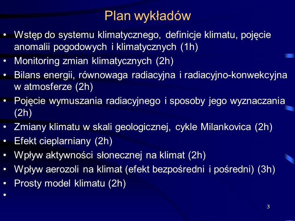 Plan wykładów Wstęp do systemu klimatycznego, definicje klimatu, pojęcie anomalii pogodowych i klimatycznych (1h)