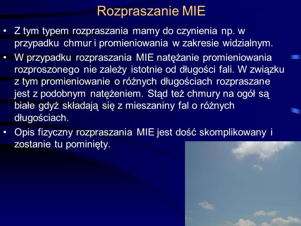 Rozpraszanie MIE Z tym typem rozpraszania mamy do czynienia np. w przypadku chmur i promieniowania w zakresie widzialnym.