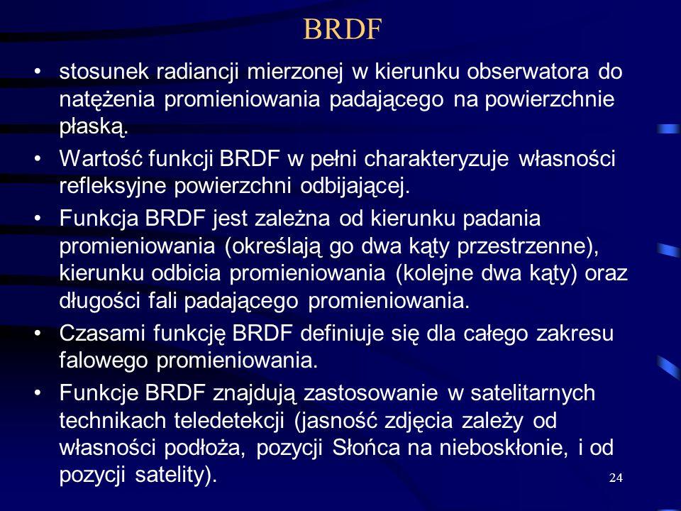 BRDF stosunek radiancji mierzonej w kierunku obserwatora do natężenia promieniowania padającego na powierzchnie płaską.