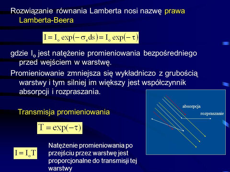 Rozwiązanie równania Lamberta nosi nazwę prawa Lamberta-Beera