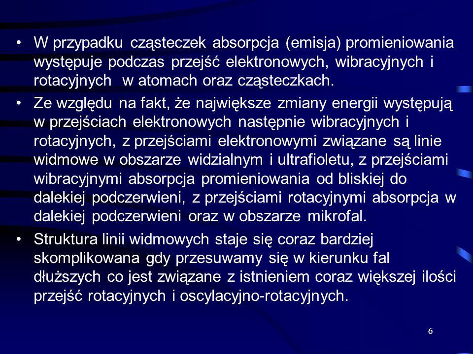 W przypadku cząsteczek absorpcja (emisja) promieniowania występuje podczas przejść elektronowych, wibracyjnych i rotacyjnych w atomach oraz cząsteczkach.