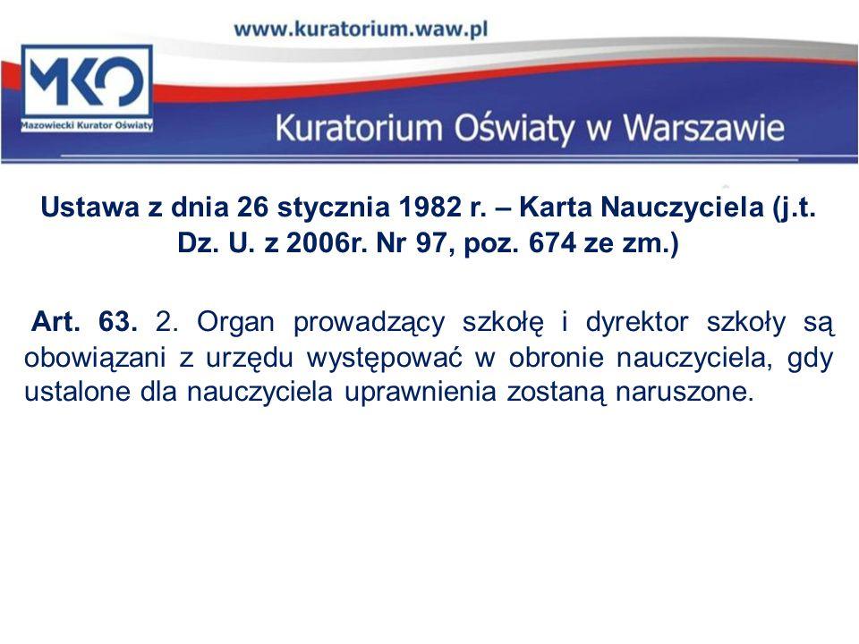 Ustawa z dnia 26 stycznia 1982 r. – Karta Nauczyciela (j. t. Dz. U