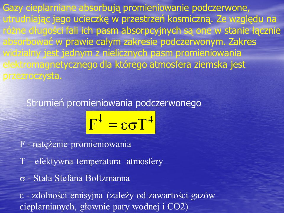 Gazy cieplarniane absorbują promieniowanie podczerwone, utrudniając jego ucieczkę w przestrzeń kosmiczną. Ze względu na różne długości fali ich pasm absorpcyjnych są one w stanie łącznie absorbować w prawie całym zakresie podczerwonym. Zakres widzialny jest jednym z nielicznych pasm promieniowania elektromagnetycznego dla którego atmosfera ziemska jest przezroczysta.