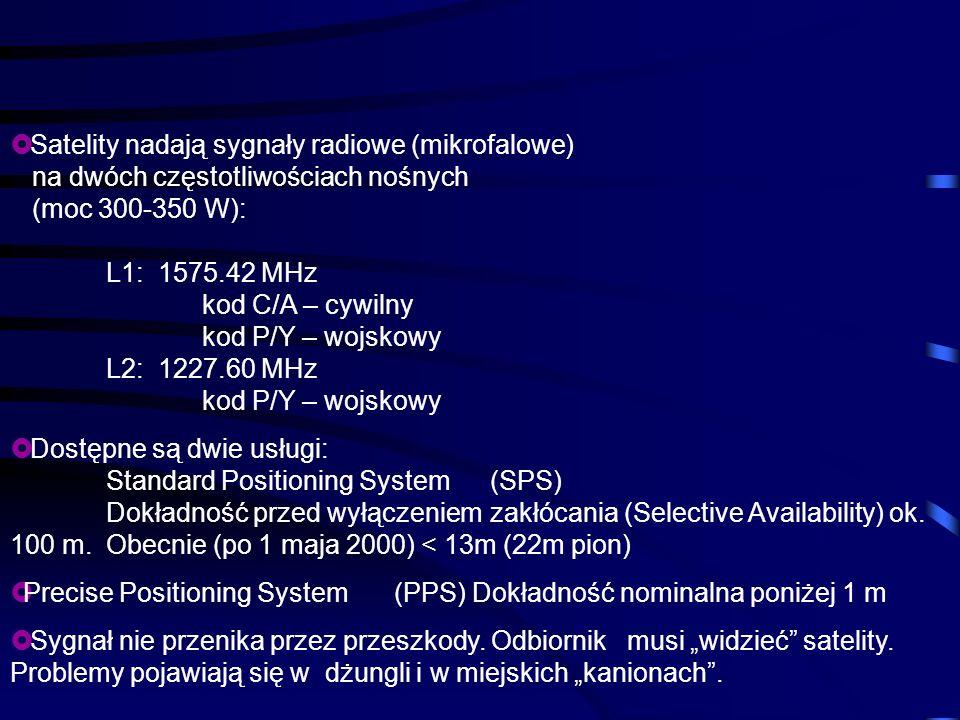 Satelity nadają sygnały radiowe (mikrofalowe) na dwóch częstotliwościach nośnych (moc 300-350 W): L1: 1575.42 MHz kod C/A – cywilny kod P/Y – wojskowy L2: 1227.60 MHz kod P/Y – wojskowy