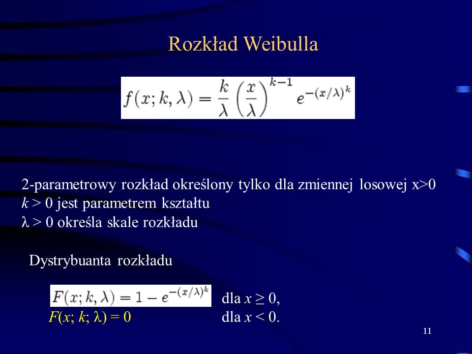 Rozkład Weibulla 2-parametrowy rozkład określony tylko dla zmiennej losowej x>0. k > 0 jest parametrem kształtu.